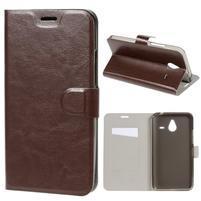 Peňaženkové PU kožené puzdro na Microsoft Lumia 640 XL - hnedé