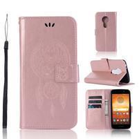 Dream PU kožené peňaženkové puzdro na Motorola Moto E5 - rosegold
