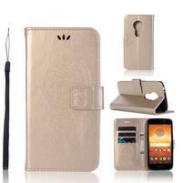 Dream PU kožené peňaženkové puzdro na Motorola Moto E5 - zlaté