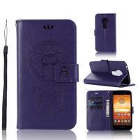 Dream PU kožené peňaženkové puzdro na Motorola Moto E5 - fialové