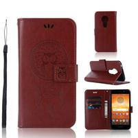 Dream PU kožené peňaženkové puzdro na Motorola Moto E5 - hnedé