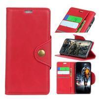 Wallet PU kožené puzdro na Motorola Moto E5 Play - červené