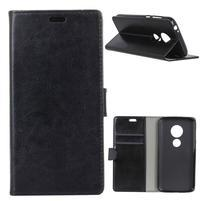 Horse PU kožené flopové puzdro na Motorola Moto E5 Play - čierne