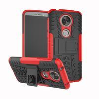 Outdoor odolný hybridný obal na Motorola Moto E5 Plus - červený
