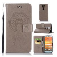 Printy PU kožené peňaženkové puzdro na Motorola Moto E5 Plus - sivé