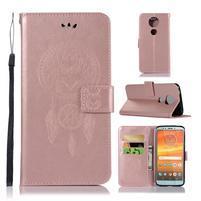 Printy PU kožené peňaženkové puzdro na Motorola Moto E5 Plus - ružovozlaté