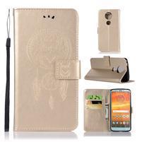 Printy PU kožené peňaženkové puzdro na Motorola Moto E5 Plus - zlaté