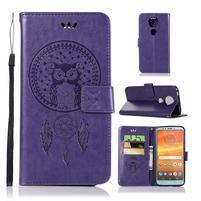 Printy PU kožené peňaženkové puzdro na Motorola Moto E5 Plus - fialové