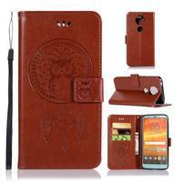 Printy PU kožené peňaženkové puzdro na Motorola Moto E5 Plus - hnedé