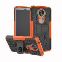 Outdoor odolný hybridný obal na Motorola Moto E5 Plus - oranžový