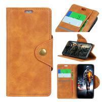 Wall PU kožené puzdro na Motorola Moto G6 Play - oranžovohnedé