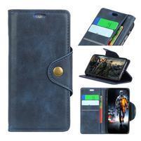 Wall PU kožené puzdro na Motorola Moto G6 Play - tmavomodré