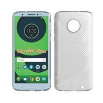 Carbon gélový odolný kryt na Motorola Moto G6 Plus - biely