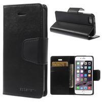 Čierne koženkové peňaženkové púzdro na iPhone 5s a iPhone 5