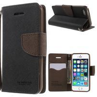 Dvojfarebné peňaženkové puzdro pre iPhone 5 a 5s - čierne/hnedé