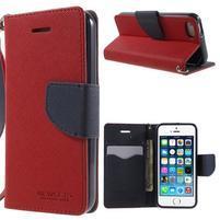 Dvojfarebné peňaženkové puzdro pre iPhone 5 a 5s - červené/tmavomodre