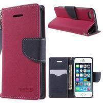 Dvojfarebné peňaženkové puzdro na iPhone 5 a 5s - rose/ tmavomodré