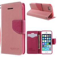 Dvojfarebné peňaženkové puzdro pre iPhone 5 a 5s - ružové/rose
