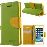Dvojfarebné peňaženkové puzdro pre iPhone 5 a 5s - zelené/ žlté