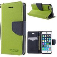 Dvojfarebné peňaženkové puzdro pre iPhone 5 a 5s - zelené/ tmavomodré