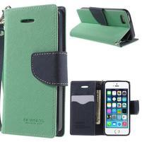 Dvojfarebné peňaženkové puzdro na iPhone 5 a 5s - azurové/ tmavomodré