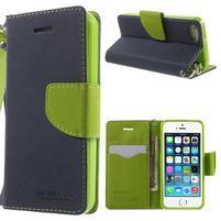 Dvojfarebné peňaženkové puzdro na iPhone 5 a 5s - tmavomodre/zelené