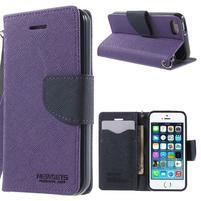 Dvojfarebné peňaženkové puzdro na iPhone 5 a 5s - fialové/tmavomodré