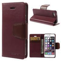 Peňaženkové koženkové puzdro pre iPhone 5s a iPhone 5 -  vínové