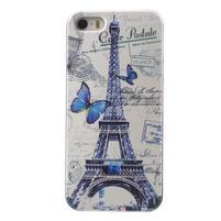 Gélové puzdro na iPhone 5 a 5s - Eiffelova veža a motýľe