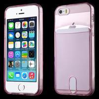 Ultra tenký obal s vreckom pre iPhone 5 a 5s - rose
