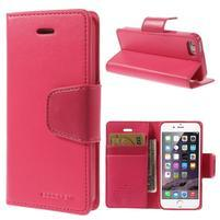 Dvojfarebné peňaženkové puzdro pre iPhone 5 a 5s - rose/ružové