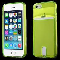 Ultra tenký obal s vreckom pre iPhone 5 a 5s - zelenožltý