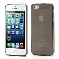 Gélový transparentný obal na iPhone 5 a 5s - šedý