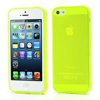Gélový transparentný obal na iPhone 5 a 5s - žiarivo žltý
