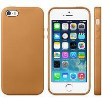 Gélový obal s textúrou na iPhone 5 a 5s - oranžový