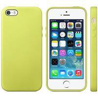 Gélový obal s textúrou na iPhone 5 a 5s - žltozelený