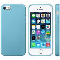 Gélový obal s textúrou na iPhone 5 a 5s - modrý