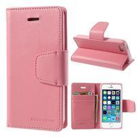 Peňaženkové koženkové puzdro pre iPhone 5s a iPhone 5 - ružové