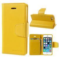 Peňaženkové koženkové puzdro pre iPhone 5s a iPhone 5 - žlté