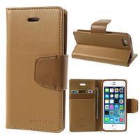 Peňaženkové koženkové puzdro pre iPhone 5s a iPhone 5 - coffee