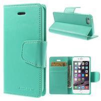 Peňaženkové koženkové puzdro pre iPhone 5s a iPhone 5 - azurové