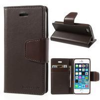 Peňaženkové koženkové puzdro pre iPhone 5s a iPhone 5 - hnedé