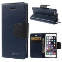 Peňaženkové koženkové puzdro pre iPhone 5s a iPhone 5 - tmavomodré