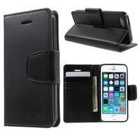 Peňaženkové koženkové puzdro pre iPhone 5 a iPhone 5s - čierne