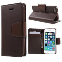 Peňaženkové koženkové puzdro pre iPhone 5 a iPhone 5s - tmavohnedé