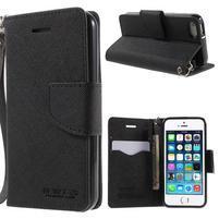 Dvojfarebné peňaženkové puzdro pre iPhone 5 a 5s - čierne/čierne