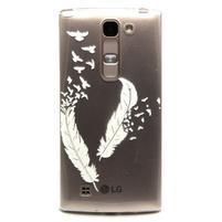 Priehľadný gélový obal pre LG G4c - vtáčie pierka