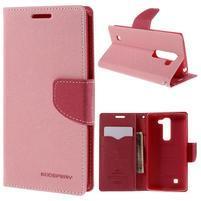 Diary PU kožené puzdro pre LG G4c- ružové