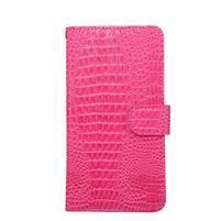 Croco PU kožené univerzálne puzdro na mobily do rozmeru 15,7 x 8 x1,8 cm - rose