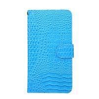 Croco PU kožené univerzálne puzdro na mobily do rozmeru 15,7 x 8 x1,8 cm - modré